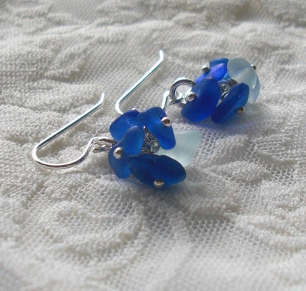Petite Seaglass Cluster Earrings
