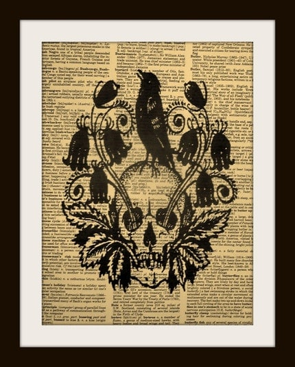 VINTAGE DAY OF THE DEAD SKULL WITH CROW Print on Vintage Dictionary Page FREE SHIPPING WORLDWIDE