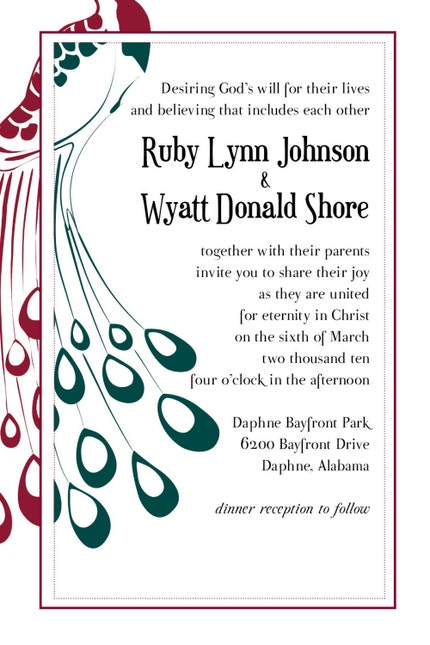Custom Peacock WEDDING INVITATION design (reserved for Bunn2Be)