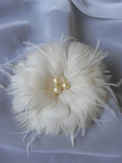 Simple Ivory Pearl Feather Flower Fascinator or Brooch with Swarovski Crystal Accent