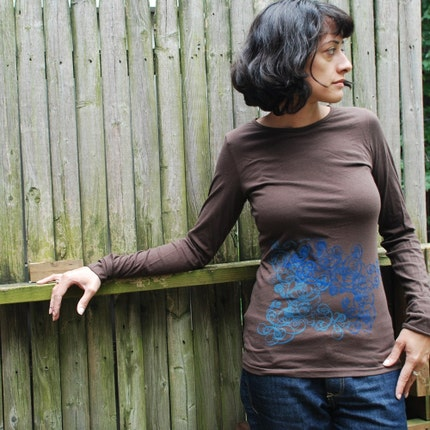 Brown screen printed shirt (double deco swirl) Long sleeve