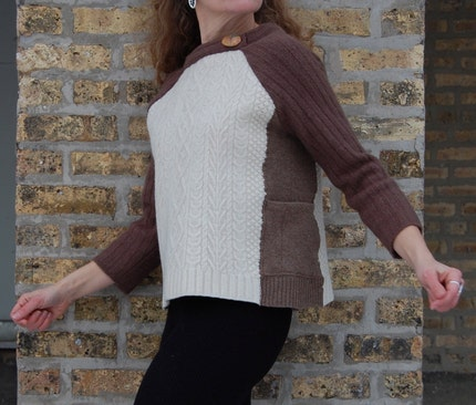 Ella pullover sweater in felted cream, taupe and cocoa wool, made from recycled knits, with red creek jasper cabochon