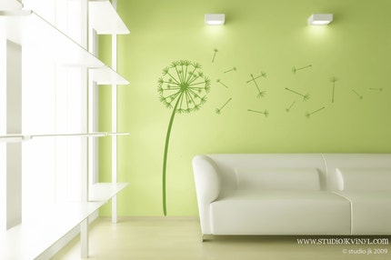 Small - Dandelion Wishes  - Vinyl Wall Decal Graphic Art Sticker Home Decor