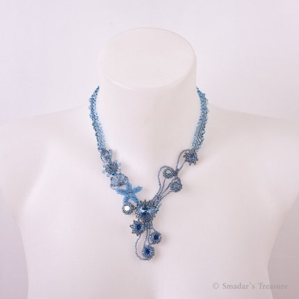 Treasures by The Sea  -  Blue and Green Necklace with Crystals