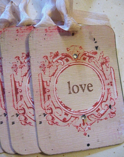 Set of 4..Valentine Sentiments.Love..Be Mine..Sweet..Gift Hang Tags.Cards.Shabby Chic Pink.French