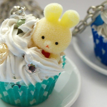 Yellow Bunny Cupcake  Necklace by glamasaurus on Etsy