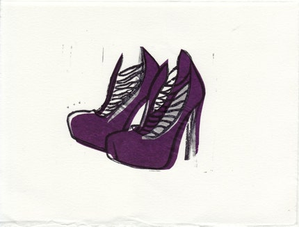 Brian Atwood LOLA shoes loose linocut block print