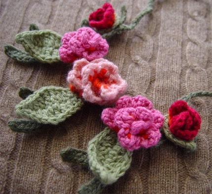 CrochetCashmere Orange and Pink flower necklace