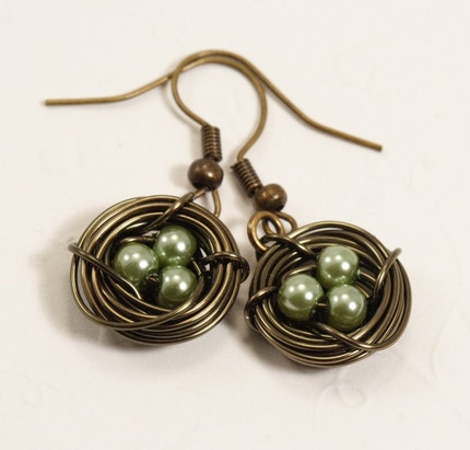 Sage Green Birds Nest Earrings in Antique Brass