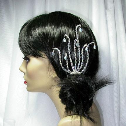 Luna Bleu Crystal Wedding Hair Comb by Lily Fleur by lilyfleur from etsy.com