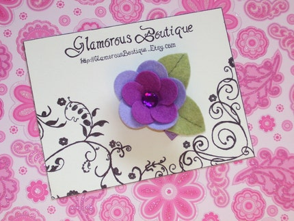 PRECIOUS PURPLE BLING FLOWER Hair Clip