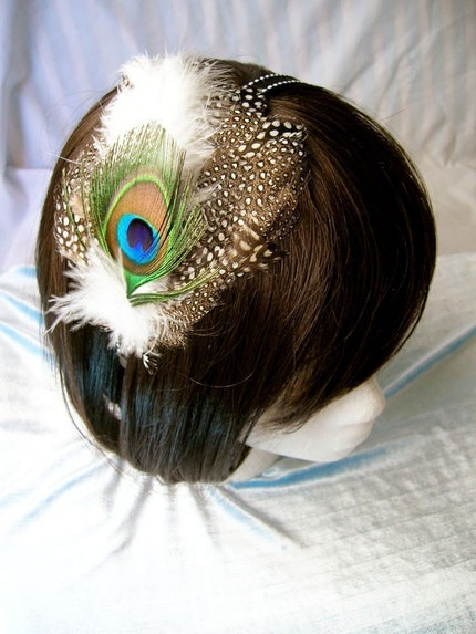 MoonScape - spotted pheasant feather with peacock feather headdress,  fascinator headband, comb, hair clip your choice