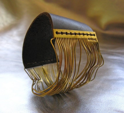 Brass Strings and Leather Special Bracelet