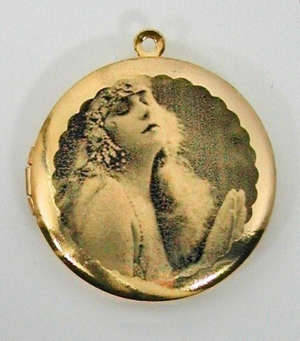 SALE ... GYPSY BELLY DANCER Vintage Brass Photo Locket UNIQUE ART PENDANTS Molly Spilane FREE SHIPPING WORLDWIDE Sale