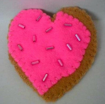 Heart Cookie Felt Pin with Neon Pink Frosting, So Kawaii