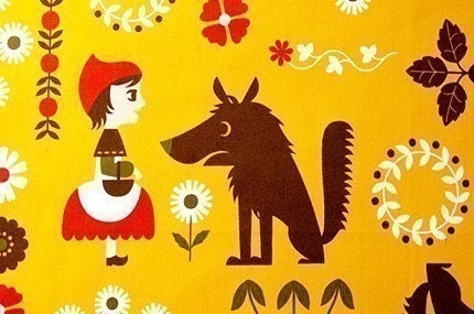 Half Yard - Cute Little Red Riding Hood and Flower - Japanese fabric - Deep Yellow