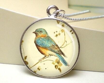 FREE CHAIN - Orange Blue Vintage Bird Photo Pendant