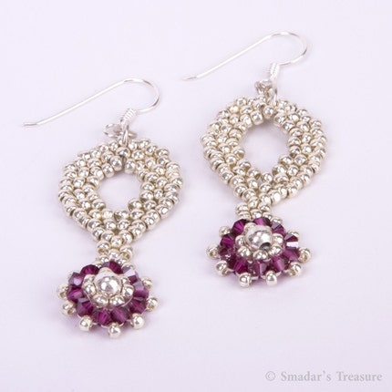 Free Shipping - Silver and Fuchsia Drop Earrings