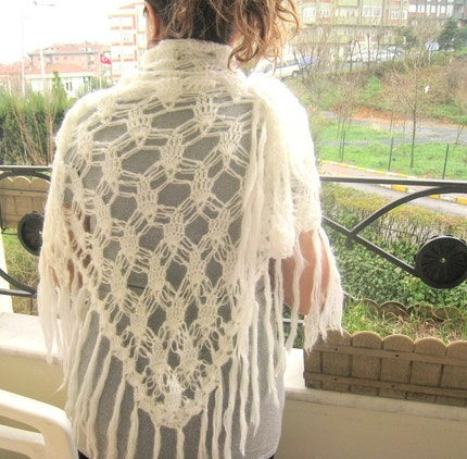Ivory Mohair Triangle Shawl with Fringe