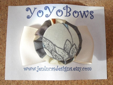 Ivory and Grey YoYoBows with ivory ribbon FREE SHIPPING