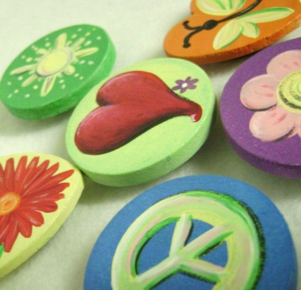 Decorative Art - Set of (6) Hand Painted Magnets - Peace, Love and Flowers