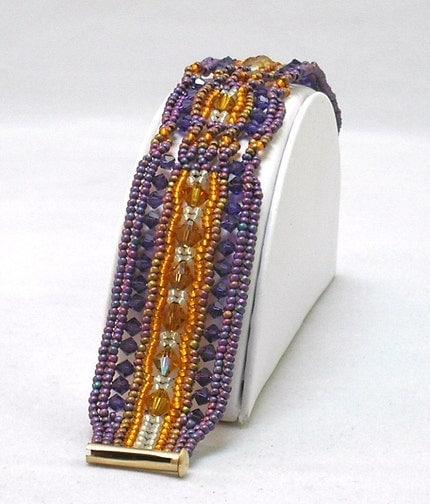Hannah Rosner Herringbone cuff Bracelet bead pattern peyote stitch