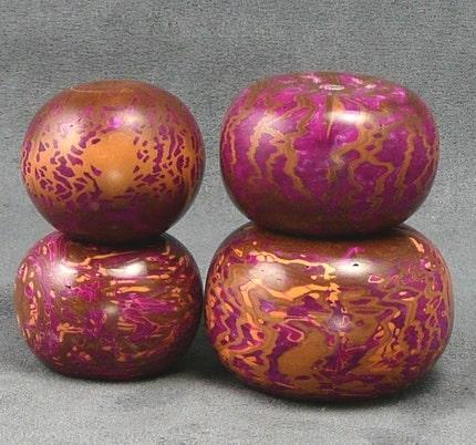 Large, Colorful Lathe-Turned Beads