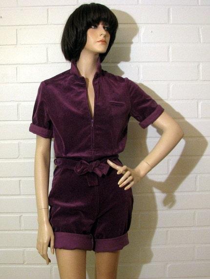 Vintage 1970's Purple Velvet Romper
