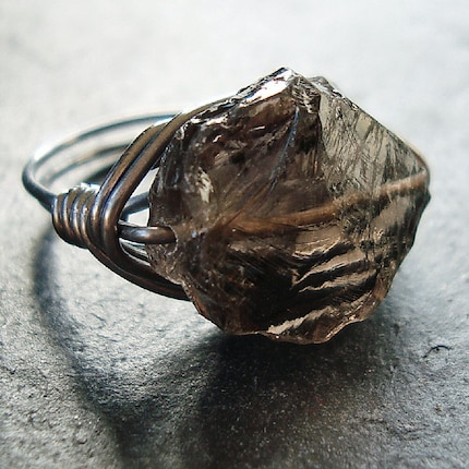 Smoky Quartz Rough Oval Oxidized Sterling Silver Wire Wrapped Ring - Rustica