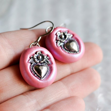 Flower Heart Earrings in Iridescent Pink Polymer Clay