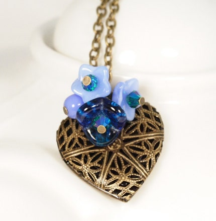Sweetheart Locket Necklace - Blue