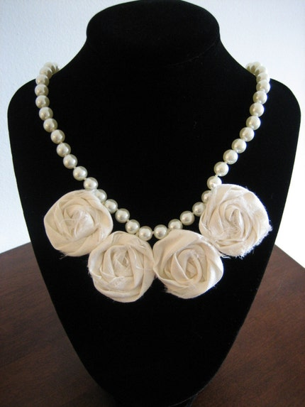 KATYA Necklace - Pearl Strand with Rosettes Bloom