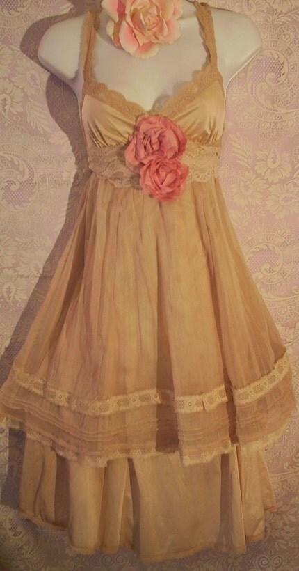 Ecru beige lacey silk chiffon slip dress pink roses M