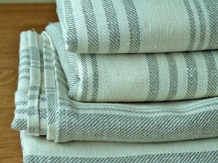 French Linen Quality huckaback Towel 39 x 59 inch Linum Cream