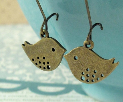 Love Birds. Brass Earrings