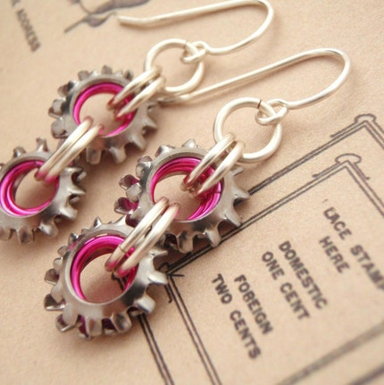 On The Edge Steampunk Chainmaillle Earrings in Silver and NEON Pink and All Non Tarnishing