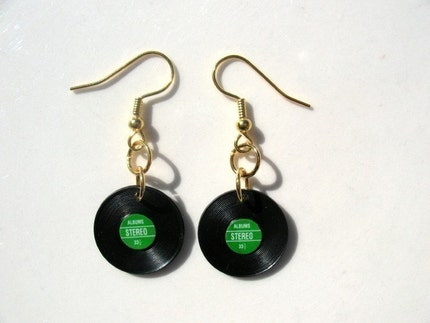 Spin The Vinyl Miniature Record Dangle Earrings