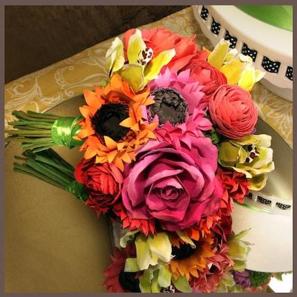 Paper Tropical Flower Bouquet