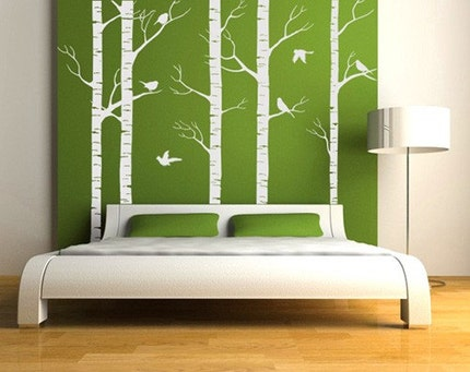 NEW DESIGN Wall Art Home Decors Murals Vinyl Decals Stickers---Birch Forest (78in.Height) ----with 6 complimentary Forest birds decals