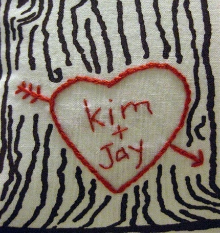 cozyblue custom heart -- tree print pillow cover -- personalized with your names or initials