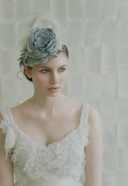 Custom Order listing for Twigs and Honey original bridal mini hat, handmade silk flowers, tulle, feathers