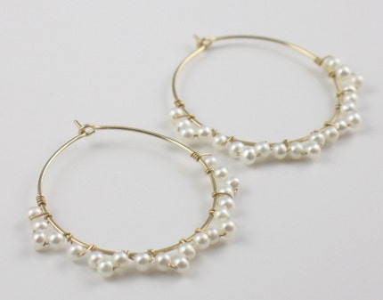 Lacy Wrapped Pearl Gold Hoops