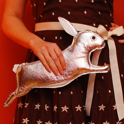 Orwell Clutch - Silver Rabbit Purse - Made to Order
