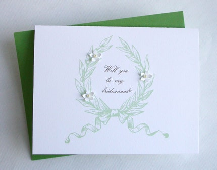 Will You Be My Bridesmaid -  embellished card green