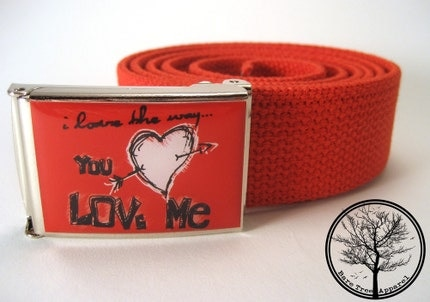 Red I Love The Way You Love Me on Chrome Nickel Buckle with Red web Belt, $15 @etsy.com