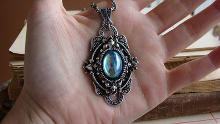 Dew - Art Nouveau Silver and Aqua Blue Metal Victorian Necklace