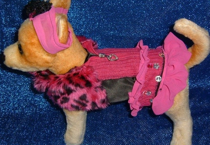 CHIHUAHUA VALENTINES PINK BLACK COSTUME, DRESS,YORKIE SMALL DOG S-M
