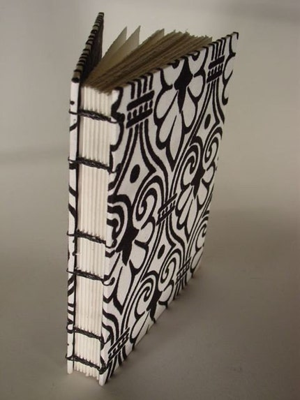 Black and White Brocade Coptic bound book