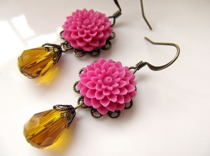 Ava  Pom Pom Mum Flower Cabochon Earrings by earringsnation