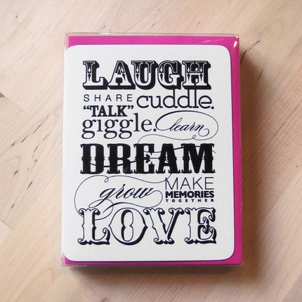 Laugh Dream Love Notes w/ your choice of envelopes